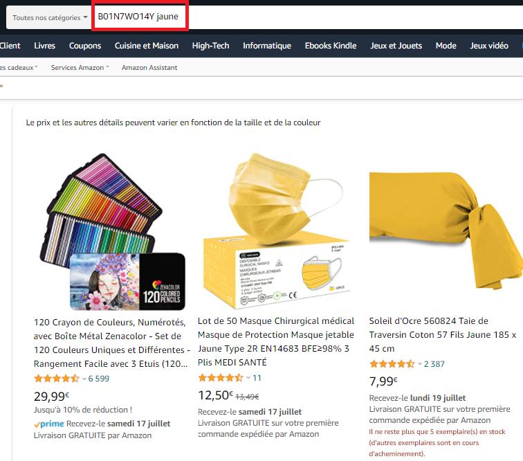 mot clé Amazon indexé
