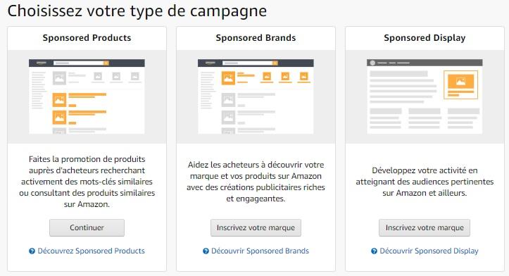 Types de campagnes Amazon Advertising