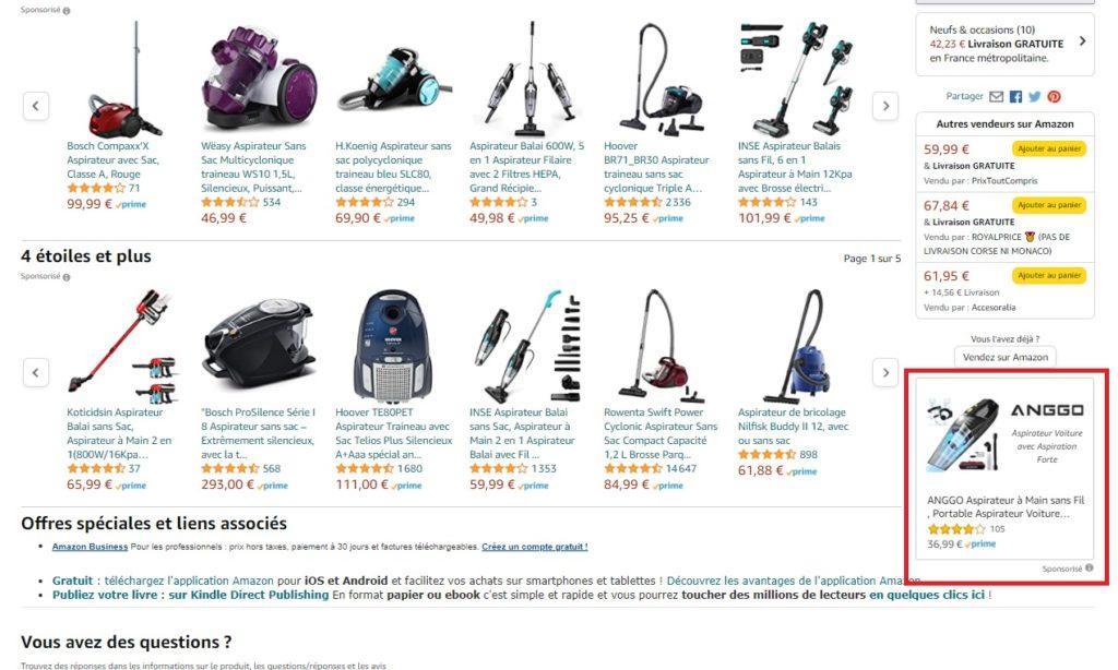 Sponsored Display dans les résultats d'une page produit Amazon