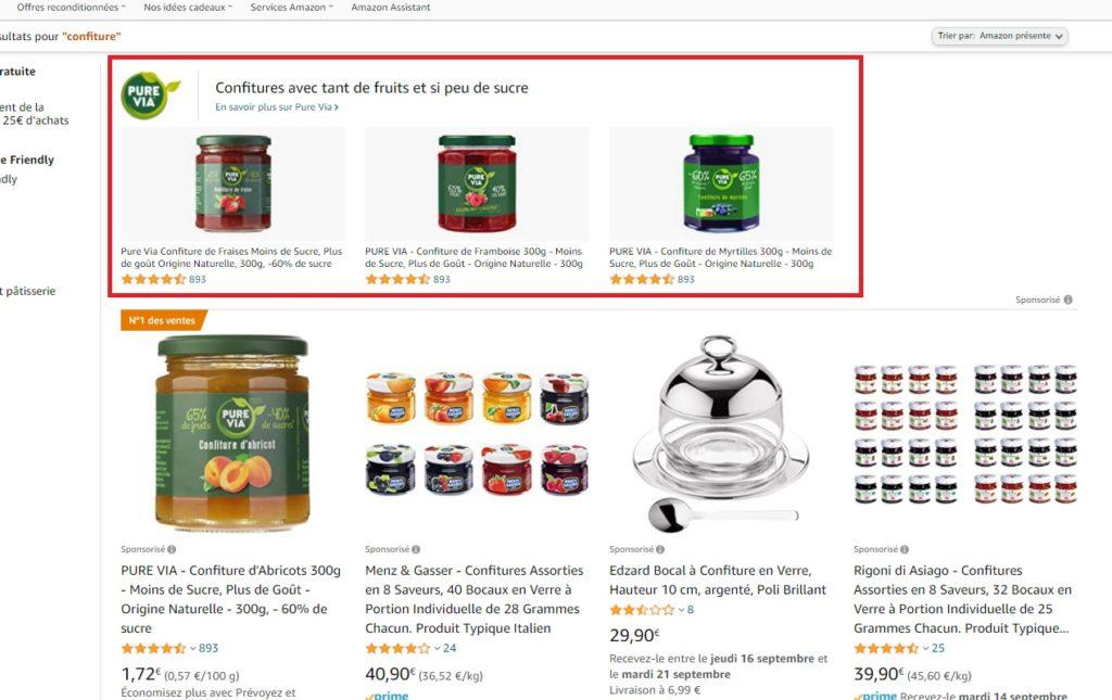 Sponsored Brands dans les résultats de recherche Amazon