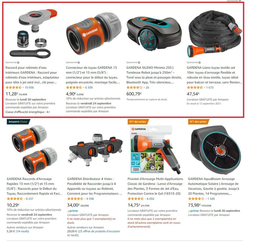 Sponsored Products dans les résultats de recherche Amazon